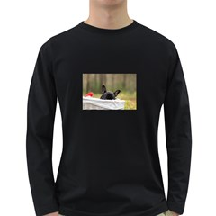 French Bulldog Peeking Puppy Long Sleeve Dark T-Shirts