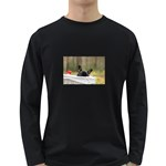 French Bulldog Peeking Puppy Long Sleeve Dark T-Shirts Front