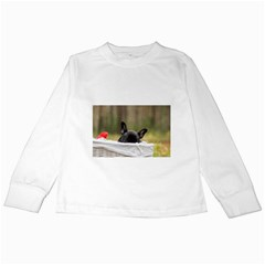 French Bulldog Peeking Puppy Kids Long Sleeve T-Shirts