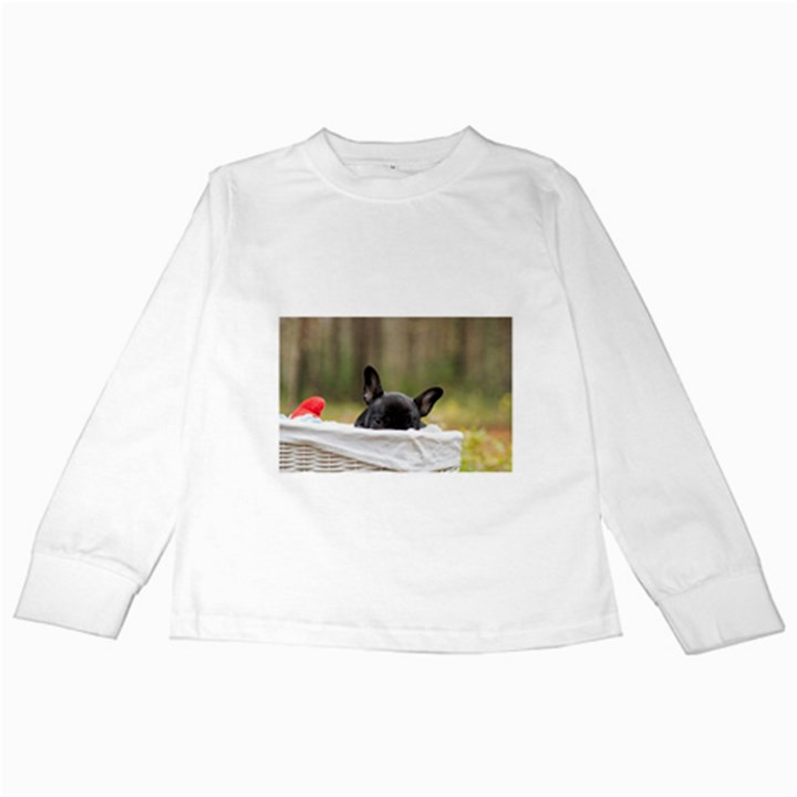 French Bulldog Peeking Puppy Kids Long Sleeve T-Shirts