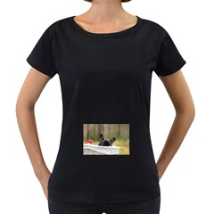 French Bulldog Peeking Puppy Women s Loose-Fit T-Shirt (Black)