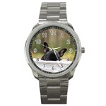 French Bulldog Peeking Puppy Sport Metal Watch Front