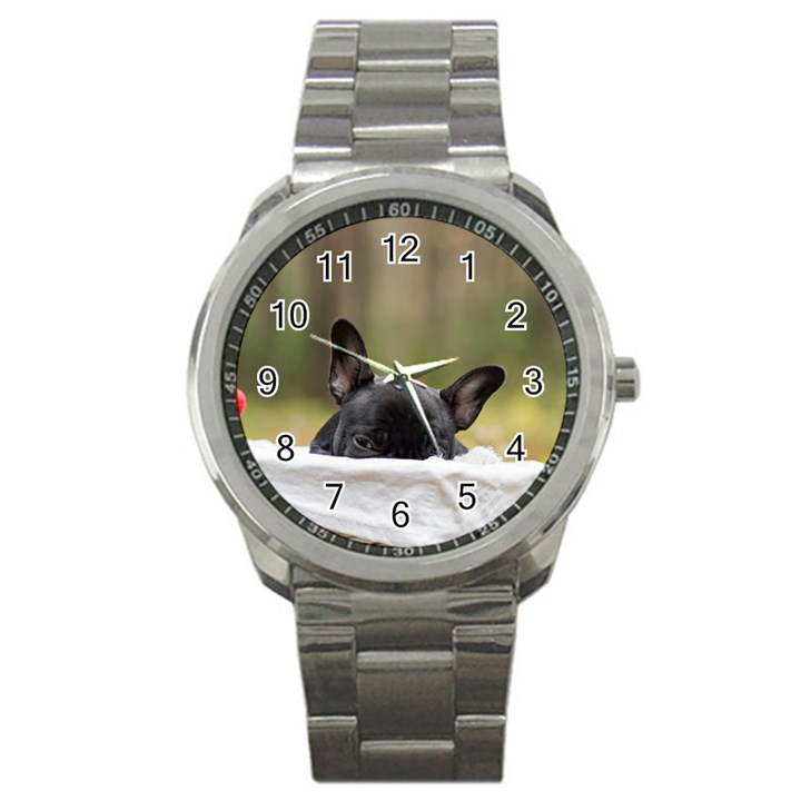 French Bulldog Peeking Puppy Sport Metal Watch