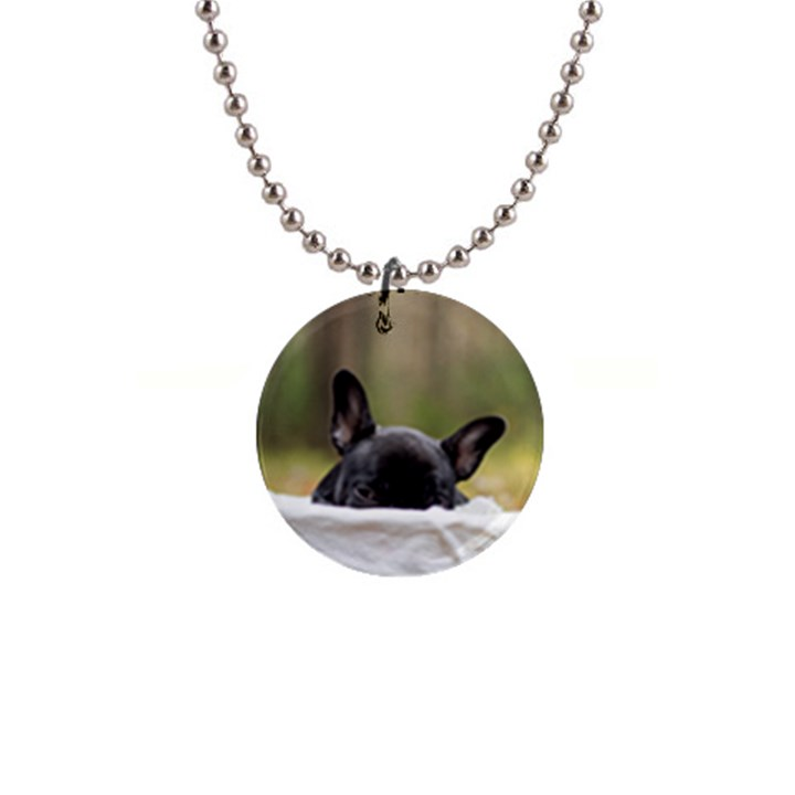 French Bulldog Peeking Puppy Button Necklaces