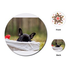 French Bulldog Peeking Puppy Playing Cards (Round)