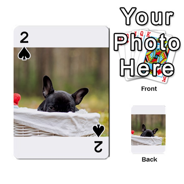 French Bulldog Peeking Puppy Playing Cards 54 Designs