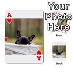 French Bulldog Peeking Puppy Playing Cards 54 Designs  Front - HeartA