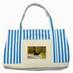 French Bulldog Peeking Puppy Striped Blue Tote Bag Front