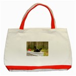 French Bulldog Peeking Puppy Classic Tote Bag (Red) Front