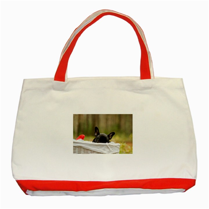 French Bulldog Peeking Puppy Classic Tote Bag (Red)