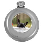 French Bulldog Peeking Puppy Round Hip Flask (5 oz) Front