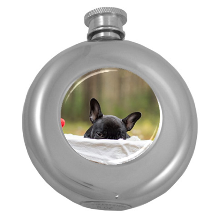 French Bulldog Peeking Puppy Round Hip Flask (5 oz)