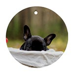 French Bulldog Peeking Puppy Round Ornament (Two Sides)  Back