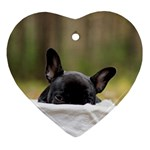 French Bulldog Peeking Puppy Heart Ornament (2 Sides) Front