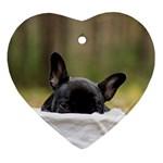 French Bulldog Peeking Puppy Heart Ornament (2 Sides) Back