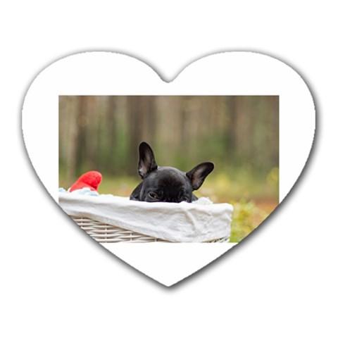 French Bulldog Peeking Puppy Heart Mousepads