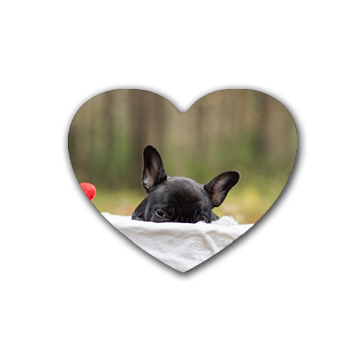 French Bulldog Peeking Puppy Rubber Coaster (Heart)