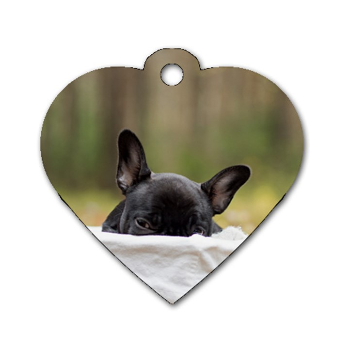 French Bulldog Peeking Puppy Dog Tag Heart (Two Sides)