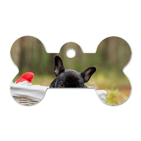 French Bulldog Peeking Puppy Dog Tag Bone (One Side)