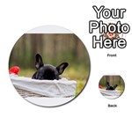 French Bulldog Peeking Puppy Multi-purpose Cards (Round)  Back 13