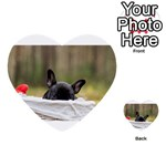 French Bulldog Peeking Puppy Multi-purpose Cards (Heart)  Front 34