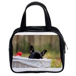 French Bulldog Peeking Puppy Classic Handbags (2 Sides) Front