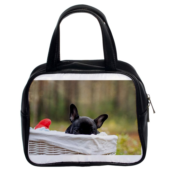 French Bulldog Peeking Puppy Classic Handbags (2 Sides)