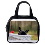 French Bulldog Peeking Puppy Classic Handbags (2 Sides) Back