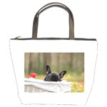 French Bulldog Peeking Puppy Bucket Bags Front