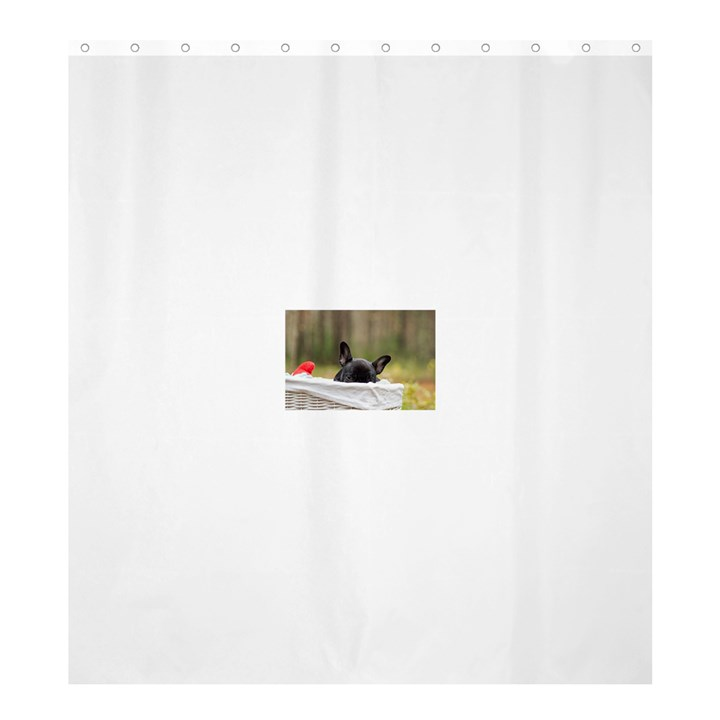 French Bulldog Peeking Puppy Shower Curtain 66  x 72  (Large)