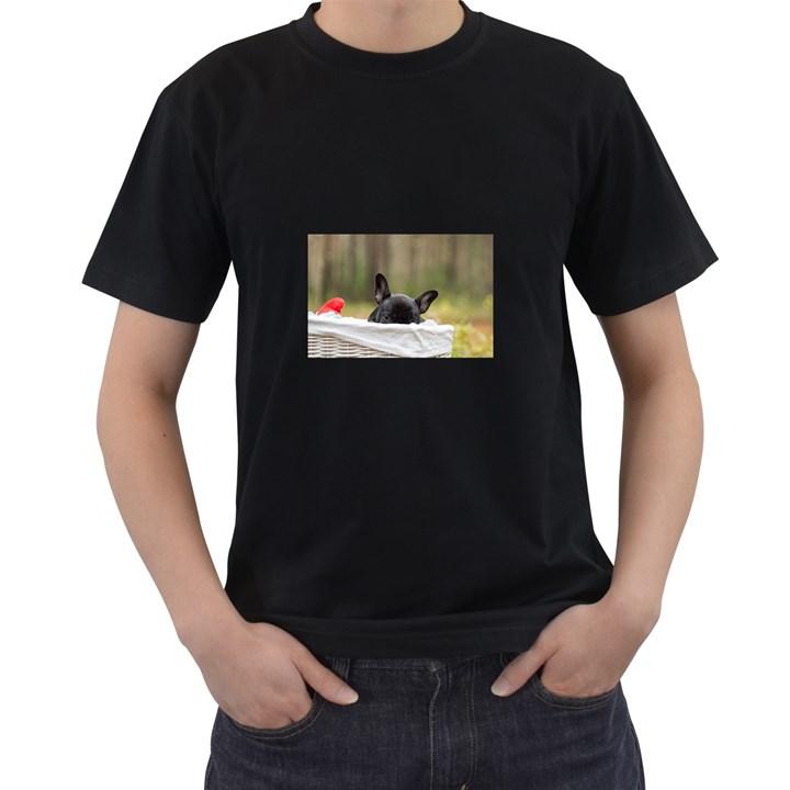 French Bulldog Peeking Puppy Men s T-Shirt (Black)