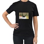 French Bulldog Peeking Puppy Women s T-Shirt (Black) Front