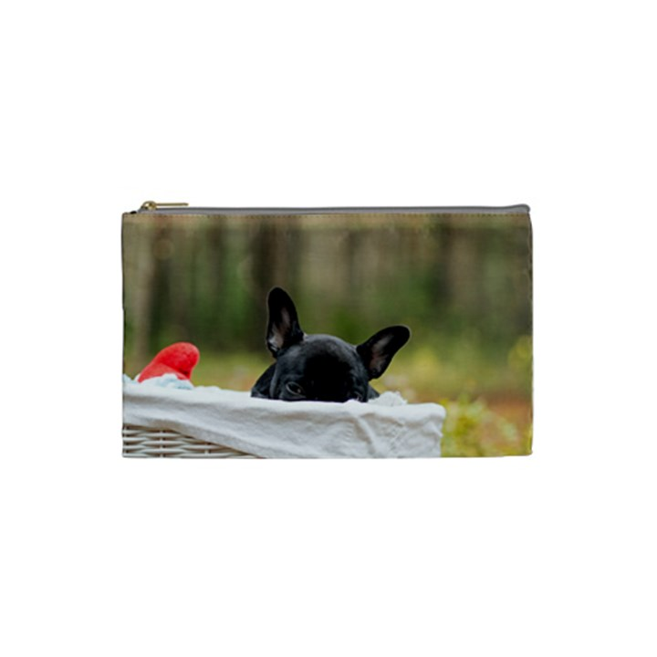 French Bulldog Peeking Puppy Cosmetic Bag (Small)