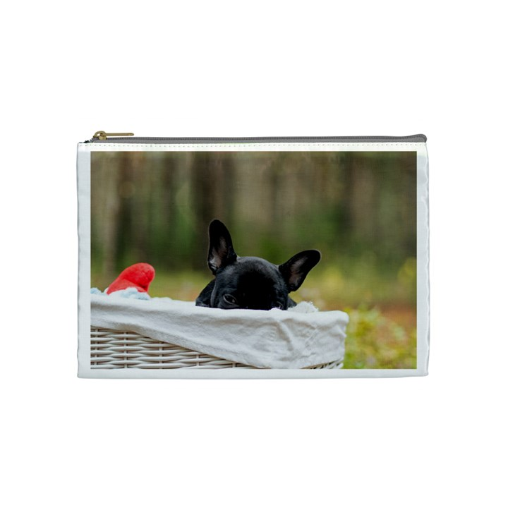 French Bulldog Peeking Puppy Cosmetic Bag (Medium)