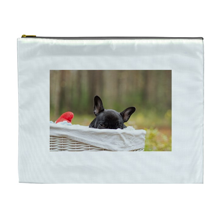 French Bulldog Peeking Puppy Cosmetic Bag (XL)