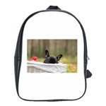 French Bulldog Peeking Puppy School Bags(Large)  Front
