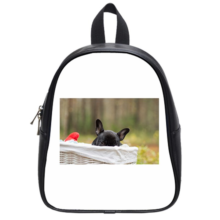French Bulldog Peeking Puppy School Bags (Small)