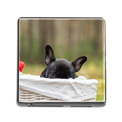 French Bulldog Peeking Puppy Memory Card Reader (Square)