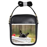 French Bulldog Peeking Puppy Girls Sling Bags Front