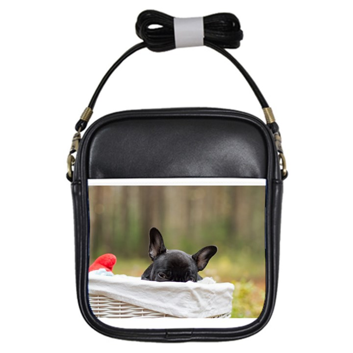 French Bulldog Peeking Puppy Girls Sling Bags