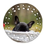 French Bulldog Peeking Puppy Ornament (Round Filigree)  Front