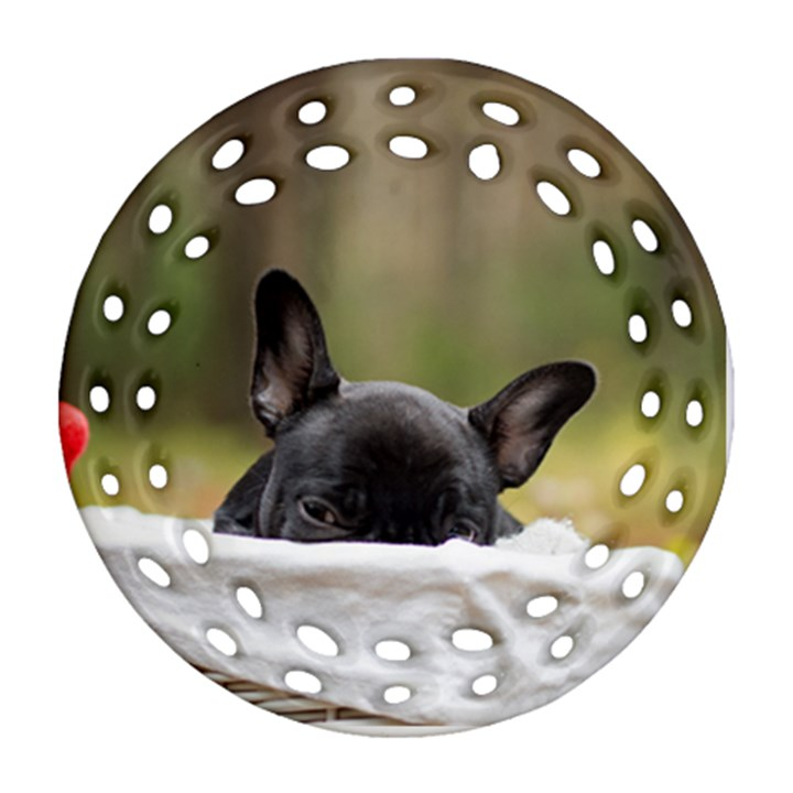 French Bulldog Peeking Puppy Ornament (Round Filigree)