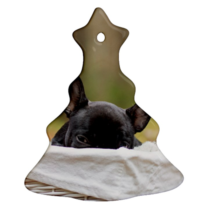 French Bulldog Peeking Puppy Christmas Tree Ornament (2 Sides)