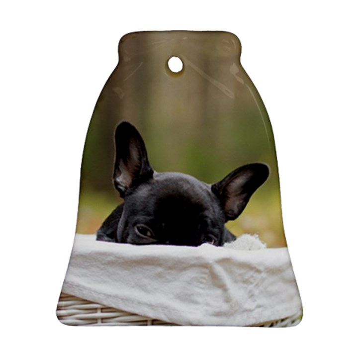 French Bulldog Peeking Puppy Bell Ornament (2 Sides)