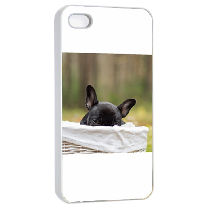 French Bulldog Peeking Puppy Apple iPhone 4/4s Seamless Case (White)