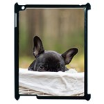 French Bulldog Peeking Puppy Apple iPad 2 Case (Black) Front