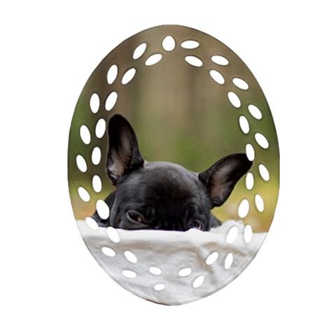 French Bulldog Peeking Puppy Ornament (Oval Filigree)
