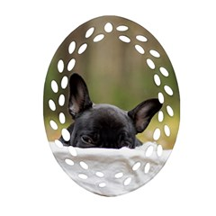 French Bulldog Peeking Puppy Ornament (oval Filigree)