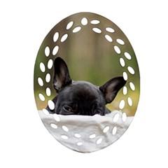 French Bulldog Peeking Puppy Oval Filigree Ornament (2-Side)