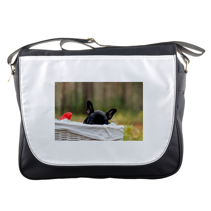 French Bulldog Peeking Puppy Messenger Bags